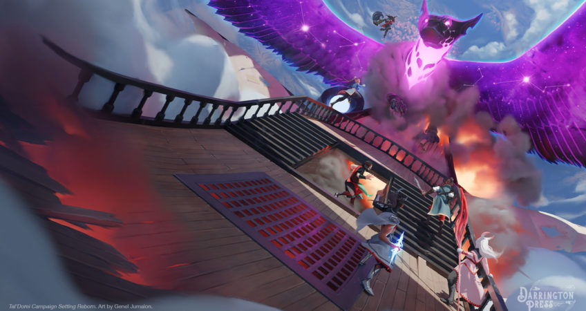 The deck of an airship flying through the clouds above Tal'Dorei with an adranach attacking the helm and fiery explosions happening on board. Five adventurers are on the deck of the airship facing the adranach and a sixth is leaping to attack them. The adranach is a large, purple, luminiscent winged creature with a silver mask, silver-taloned front paws, and stars glittering in its wings. Art by Genel Jumalon.