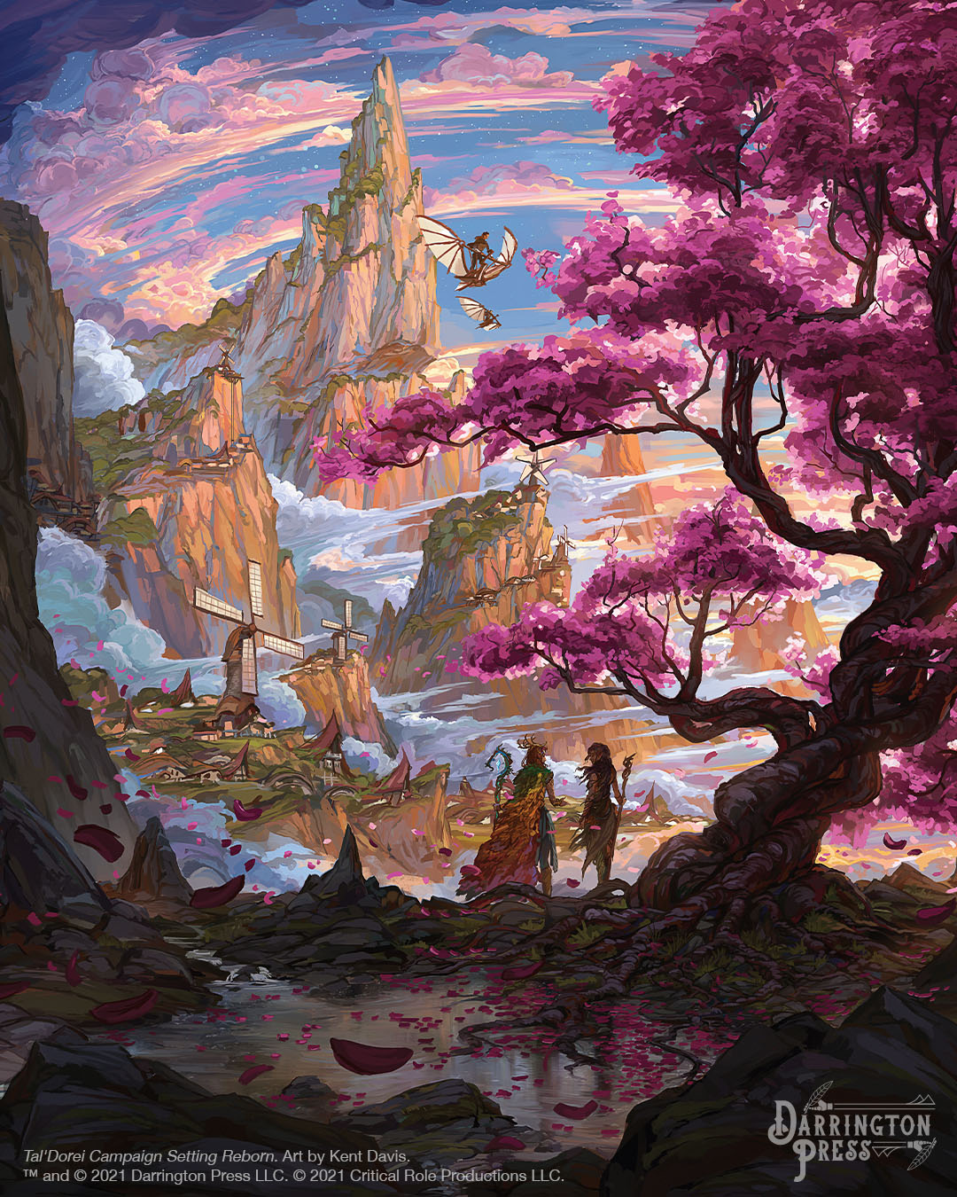 The landscape of Zephrah: A village among the clouds on grassy, spiralling mountain peaks. Two individuals look on at the village from near a large purple tree. Two individuals on skysails fly overhead. Art by Kent Davis.