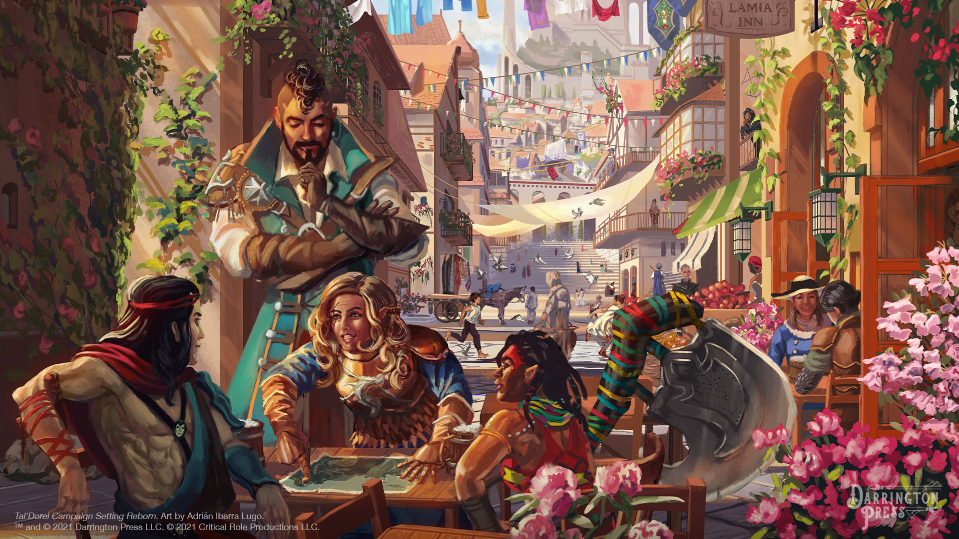 """A street view of the busy city of Emon, filled with flowers, lines of clothing and cloth canopies connecting the buildings on either side. In the foreground there are several adventures conversing at a table with a map outside of the """"Laughing Lamia Inn."""" In the background there is an airship in the sky with white sails and a tall castle overlooking the city. Art by Adrián Ibarra Lugo."""