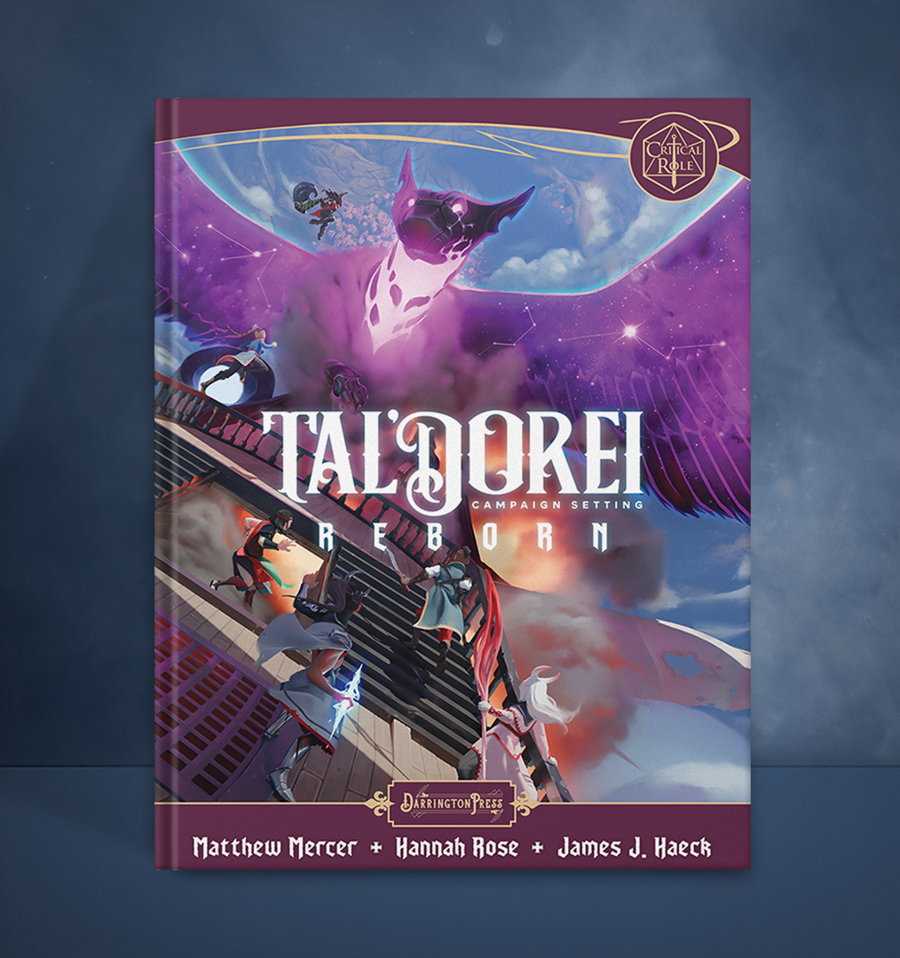 A mockup of the sourcebook Tal'Dorei Campaign Setting Reborn with a blue background, showcasing an airship adventure scene on the cover (illustrated by Genel Jumalon) and bearing the logo, Darrington Press logo, Critical Role logo, and author names Matthew Mercer, Hannah Rose, and James J. Haeck.